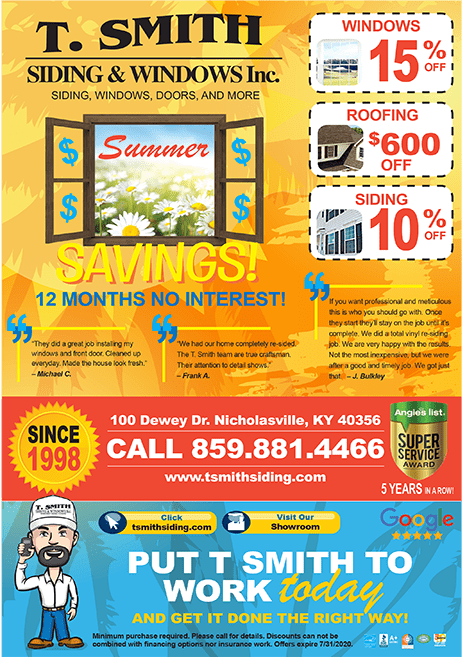 T Smith Summer Roofing and Window Specials
